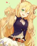 1girl :3 :d absurdres animal_ears arisa_(shadowverse) bangs bare_shoulders belt blush breasts brown_belt cleavage cleavage_cutout commentary_request dress dutch_angle elbow_gloves extra_ears eyebrows_visible_through_hair fang fox_ears fox_girl fox_shadow_puppet fox_tail gloves green_background green_eyes hair_between_eyes hands_up heart highres large_breasts long_hair looking_at_viewer loose_belt neck_ribbon one_eye_closed open_mouth orange_gloves parted_bangs paw_gloves paws pointy_ears red_ribbon ribbon shadowverse simple_background sleeveless sleeveless_dress smile solo tail very_long_hair yamato_(muchuu_paradigm)
