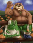 2018 anthro bear belly brown_fur bulge clothing eyewear fur glasses hat male mammal moobs nipples overweight overweight_male pants solo straw_hat tokyo_afterschool_summoners towel volos