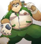 2018 anthro bear blush brown_fur bulge clothing eyewear fur glasses gloves hat male mammal overweight overweight_male pants simple_background sitting solo straw_hat tokyo_afterschool_summoners volos white_background