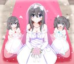 3girls :d :o black_hair blue_eyes blush breasts bridal_veil bride burn_scar child cleavage collarbone commentary_request dorei_to_no_seikatsu_~teaching_feeling~ dress elbow_gloves eyebrows_visible_through_hair eyes_visible_through_hair gloves hair_between_eyes hair_ornament hairclip highres long_hair looking_at_another looking_at_viewer mother_and_daughter multiple_girls older open_mouth petals scar smile strapless strapless_dress sylvie_(dorei_to_no_seikatsu) takahiko twintails veil wedding wedding_dress white_dress white_gloves