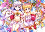 2girls :d above_clouds absurdres bare_shoulders blonde_hair blue_eyes blue_sky blush bracelet breasts cleavage collarbone copyright_request day double_bun dress earrings eyebrows_visible_through_hair eyes_visible_through_hair flower flower_necklace frilled_dress frills fujima_takuya gauntlets gem hair_ornament_request head_wreath highres holding holding_hands holding_staff interlocked_fingers jewelry keyhole knees_together_feet_apart layered_dress looking_at_viewer multiple_girls navel necklace official_art open_mouth outdoors outstretched_arm pearl_bracelet pink_earrings pink_flower pleated_skirt red_eyes revealing_clothes scan scrunchie short_hair silver_hair single_stripe sitting skirt sky sleeveless sleeveless_dress small_breasts smile staff tongue white_dress white_frills white_scrunchie white_skirt wrist_scrunchie yellow_frills yellow_stripe