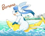 ambiguous_gender banana blush eeveelution feral food fruit glaceon mammal matamata_(artist) nintendo nude open_mouth pokémon pokémon_(species) riding sky solo surfing video_games water