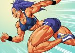 1girl :d abs ass bandaid bare_arms bike_shorts blue_eyes blue_hair breasts captain_mizuki earrings jewelry midriff muscle muscular_female one-punch_man open_mouth pokkuti ponytail running shoes smile sneakers solo toned wristband