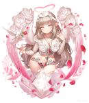 1girl :o angel angel_wings bangs bird blunt_bangs blush bow breasts brown_hair chains chastity_belt cleavage collarbone crop_top dove eyebrows_visible_through_hair falling_petals feathered_wings fingernails floral_print flower gradient_eyes gradient_wings hair_bow hair_twirling hakura_kusa halo hand_up head_tilt heart heart-shaped_pupils highres jewelry key key_necklace keyhole large_breasts long_hair long_sleeves looking_at_viewer motion_blur multicolored multicolored_eyes multicolored_wings navel necklace original petals pink_eyes pink_wings pointy_ears red_flower red_rose ring rose rose_petals rose_print shiny shiny_hair shirt sidelocks stomach symbol-shaped_pupils thighhighs very_long_hair white_bow white_flower white_legwear white_rose white_shirt white_wings wings yellow_eyes