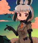 2018 5_fingers :> animal_humanoid armwear bat-eared_fox bat-eared_fox_(kemono_friends) biped black_clothing black_hair black_tail blush bow_tie breasts brown_eyes canine canine_humanoid clothing cloud digital_drawing_(artwork) digital_media_(artwork) dipstick_tail dog_humanoid earbuds elbow_gloves eyelashes female front_view gloves grey_clothing grey_hair grey_tail hair half-length_portrait headphones humanoid humanoid_hands inner_ear_fluff japanese kemono_friends light_skin listening_to_music looking_away mammal motion_lines multicolored_hair multicolored_tail musical_note orange_clothing pockets pointing portable_music_player portrait school_uniform short_hair sky small_breasts smile snapping snapping_fingers solo star starry_sky tan_skin two_tone_hair two_tone_tail uniform 緘黙さん
