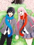 1boy 1girl bangs black_hair black_pants blazer blue_eyes blue_scarf blush cherry_blossoms commentary_request couple darling_in_the_franxx eyebrows_visible_through_hair flower grass green_eyes grey_blazer grey_neckwear grey_skirt hand_holding hetero highres hiro_(darling_in_the_franxx) interlocked_fingers jacket long_hair long_sleeves looking_at_another lying mi_(dxmp2445) necktie on_back open_blazer open_clothes open_jacket open_mouth pants petals pink_hair plaid plaid_pants plaid_skirt red_scarf scarf school_uniform shirt short_hair skirt striped striped_neckwear thighs tree white_shirt zero_two_(darling_in_the_franxx)