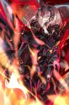 1girl absurdres ahoge armor armored_dress black_dress breasts chains dorashieru dress eyebrows_visible_through_hair fate/grand_order fate_(series) faulds flag fur_trim gauntlets headpiece highres holding holding_flag holding_weapon jeanne_d'arc_(alter)_(fate) jeanne_d'arc_(fate) jeanne_d'arc_(fate)_(all) polearm silver_hair weapon yellow_eyes