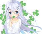 1girl bangs blue_eyes blush clover collarbone commentary_request covered_mouth eyebrows_visible_through_hair four-leaf_clover gochuumon_wa_usagi_desu_ka? hair_between_eyes hair_ornament holding kafuu_chino long_sleeves looking_at_viewer shirt silver_hair simple_background solo sutei_(xfzdarkt) white_background white_shirt x_hair_ornament