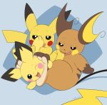 ambiguous_gender brown_fur feet feral foot_fetish fur group licking mammal nintendo open_mouth pawpads paws pichu pikachu pokémon pokémon_(species) raichu red_cheeks rodent simple_background slimefur smile toes tongue tongue_out video_games yellow_fur