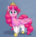 2018 :3 absurd_res alternate_species blue_eyes clothing crown cute equine eyebrows eyelashes feathered_wings feathers female feral friendship_is_magic grey_background hair hi_res hooves horn legwear looking_at_viewer mammal mostly_nude my_little_pony pabbley pink_feathers pink_hair pinkie_pie_(mlp) portrait royalty shadow simple_background solo stockings teeth thigh_highs walking winged_unicorn wings