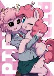 2girls animal_ears ashido_mina black_sclera blue_eyes boku_no_hero_academia caibao crossover horns multiple_girls my_little_pony my_little_pony_friendship_is_magic one_eye_closed open_mouth pink_hair pink_skin pinkie_pie pleated_skirt pony school_uniform short_hair skirt smile socks tail yellow_eyes