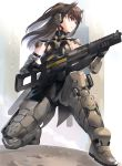 1girl armor black_hair gun headphones holding holding_gun holding_weapon kfr long_hair mecha_musume original power_armor red_eyes science_fiction solo weapon