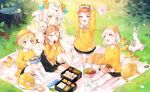 5girls :d animal arms_up bag bangs black_skirt blonde_hair blush blush_stickers brown_eyes bunny closed_mouth collared_shirt commentary copyright_request day eyebrows_visible_through_hair fang flower food grass hat holding holding_food kindergarten_bag kindergarten_uniform kneehighs light_brown_hair long_hair long_sleeves multiple_girls no_shoes obentou open_mouth outdoors petals picnic pink_flower pink_hair pleated_skirt pointy_ears school_hat shade shirt shoes shoes_removed short_sleeves sitting skirt smile socks squirrel standing thick_eyebrows tree_stump very_long_hair white_hair white_legwear white_shirt yellow_eyes yellow_footwear yellow_hat yellow_shirt yumaomi