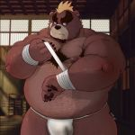 anthro ashigara bandage bear belly big_belly body_hair brown_fur bulge chest_hair clothing eyebrows fundoshi fur hair hi_res japanese_clothing male mammal mohawk musclegut muscular muscular_male nipples obese overweight overweight_male short_hair solo thick_eyebrows tokyo_afterschool_summoners unc_p underwear ゆぬこぴ