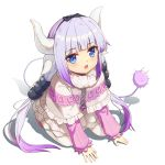 all_fours bad_id bad_pixiv_id bangs banned_artist black_bow black_hairband blue_eyes blunt_bangs blush bow dragon_girl dragon_horns eyebrows_visible_through_hair hair_bow hairband highres horns kanna_kamui kobayashi-san_chi_no_maidragon lavender_hair long_hair long_sleeves looking_at_viewer open_mouth simple_background solo tail twintails white_background white_legwear yiku_(sim7368)
