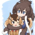 2018 animal_humanoid big_breasts biped blue_background blue_clothing blue_eyes blush bow_tie breast_size_difference breasts brown_clothing brown_fur brown_hair brown_tail bust_portrait chipmunk chipmunk_(kemono_friends) clothed clothing coiling cute digital_drawing_(artwork) digital_media_(artwork) duo embrace eyebrows female female/female floppy_ears fluffy fluffy_tail front_view fur grey_eyes hair hug huge_breasts hugging_from_behind humanoid humanoid_on_humanoid kemono_friends light_skin long_hair looking_at_another looking_at_partner looking_back looking_down mammal mammoth multicolored_hair multicolored_tail neck_tuft one_eye_closed open_mouth open_smile orange_hair orange_tail pigtails ponytail portrait proboscidean proboscidean_humanoid rodent rodent_humanoid shirt simple_background size_difference smile striped_hair stripes sweater_vest tail_coil tan_hair tan_skin tan_tail trunk trunk_coil tuft tusks white_clothing white_fur white_hair white_stripes woolly_mammoth_(kemono_friends) も23