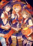 3girls absurdres bangs blue_eyes blue_hair blush commentary eyebrows_visible_through_hair fingerless_gloves gloves grey_hair halloween hat highres jack-o'-lantern kousaka_honoka lanlanlu_(809930257) long_hair looking_at_viewer love_live! love_live!_school_idol_festival love_live!_school_idol_project minami_kotori multiple_girls navel one_eye_closed open_mouth pointing pointing_at_viewer pumpkin skirt smile sonoda_umi striped striped_legwear thighhighs trick_or_treat witch witch_hat yellow_eyes