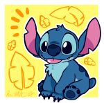 2018 4_toes absurd_res alien back_markings blep blue_claws blue_eyes blue_fur blue_nose blue_pawpads border chest_tuft claws cute cute_fangs digital_drawing_(artwork) digital_media_(artwork) disney experiment_(species) fur head_tuft hi_res lilo_and_stitch markings notched_ear outline palm_frond pawpads raystar signature simple_background sitting small_tail smile solo stitch toes tongue tongue_out tuft white_border yellow_background