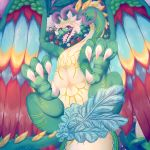 2018 3_toes absurd_res anisodactyl blue_feathers brown_eyes butt claws convenient_censorship corn cucumber digital_media_(artwork) digital_painting_(artwork) dragon eyebrows eyelashes feathered_wings feathers female feral flower food foot_focus fruit fur green_scales green_tail hair hi_res horn long_neck looking_at_viewer lying markings melon multicolored_feathers open_mouth patohoro plant pumpkin red_feathers rune_factory scales scalie slightly_chubby smile soles solo strawberry tail_censorship tail_feathers teeth toe_claws toes tomato tongue turnip vegetable ventuswill video_games wide_hips wings wyvern yellow_feathers yellow_scales