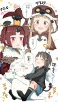3girls :d angel_wings ano_ko_wa_toshi_densetsu bangs benienma_(fate/grand_order) bird_costume bird_hood black_hoodie black_legwear blue_shorts blush bow brown_eyes brown_hair brown_hat cellphone commentary_request copyright_name demon_horns demon_tail eyebrows_visible_through_hair eyes_closed fake_halo fake_horns fate/grand_order fate_(series) feathered_wings gomennasai hair_ornament hairclip hat holding holding_cellphone holding_phone hood hood_down hood_up hoodie horns ichihara_nina idolmaster idolmaster_cinderella_girls long_hair low_ponytail multiple_girls no_shoes open_mouth phone ponytail red_bow red_eyes short_shorts shorts sidelocks smile socks soles tail tail_bow tears translation_request trembling v-shaped_eyebrows very_long_hair white_wings wings zangyaku-san