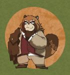 2018 anthro baku_hosamo brown_fur canine clothed clothing footwear fur gyobu humanoid_hands male mammal pants scar shirt shoes simple_background slightly_chubby solo tanuki tattoo tokyo_afterschool_summoners