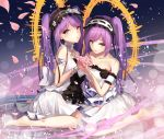 2girls arm_strap armlet augu_(523764197) back_bow barefoot bow choker collarbone dress euryale eyebrows_visible_through_hair fate/apocrypha fate_(series) floating_hair hair_between_eyes hairband jewelry lens_flare lolita_hairband long_hair looking_at_viewer multiple_girls necklace parted_lips purple_eyes purple_hair short_dress siblings sisters sleeveless sleeveless_dress stheno strapless strapless_dress twintails very_long_hair white_dress