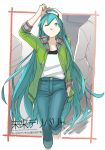 1girl ;o alternate_hairstyle antenna_hair arm_up baseball_cap blue_eyes blue_hair denim english fingernails green_sweater hand_in_hair hand_in_pocket hat hatsune_miku highres jeans long_hair looking_up mirai_delivery miyama_fugin one_eye_closed open_mouth pants shirt solo_focus standing sweater very_long_hair vocaloid walking white_shirt
