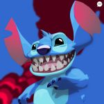 2014 4_fingers abstract_background alien alternate_form black_eyes blue_claws blue_fur blue_nose chest_tuft claws digital_drawing_(artwork) digital_media_(artwork) disney experiment_(species) fur head_tuft hi_res lilo_and_stitch notched_ear open_mouth open_smile pacman23 saliva sharp_teeth small_tail smile solo stitch teeth tuft