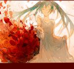 1girl blue_hair bouquet commentary crying dress eyebrows_visible_through_hair eyes_closed floating_hair flower gradient gradient_background grey_dress happy hatsune_miku highres letterboxed long_hair outstretched_arm petals pink_background puffy_short_sleeves puffy_sleeves red_flower red_rose rose short_sleeves simple_background smile solo_focus tears teeth twintails vocaloid white_background