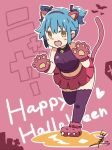 1girl :d alternate_hairstyle animal_ears bangs bat bell blue_hair blush_stickers cat_ears commentary_request crop_top eyebrows_visible_through_hair fake_animal_ears fang full_body gloves hair_ribbon hairband halloween happy_halloween heart jack-o'-lantern jingle_bell looking_at_viewer miniskirt navel nyan open_mouth outline paw_boots paw_gloves paws personification pink_skirt purple_legwear purple_shirt ribbon shirt short_twintails sidelocks signature skirt sleeveless sleeveless_shirt smile solo standing standing_on_one_leg tail thighhighs tsukigi twintails twitter twitter-san twitter-san_(character) white_outline yellow_eyes