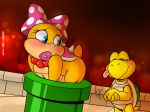 big_butt blue_eyes blush bow_tie butt collar digital_media_(artwork) eyelashes female joaoppereiraus koopa_troopa koopaling lipstick lizard makeup male mario_bros nintendo pipe pretend reptile scalie slightly_chubby stuck sweat tongue turtle video_games wendy_o_koopa
