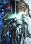 1boy 1girl commentary commentary_request dark_samus delano77777 galactic_federation_trooper gun highres ing_(metroid) light light_suit looking_at_viewer looking_away luminoth metroid metroid_prime_2:_echoes pose power_armor samus_aran space_pirate_(metroid) visor_(armor) weapon