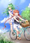 2girls :d ahoge bangs bare_arms bare_shoulders bicycle bicycle_basket black_ribbon black_shirt blue_neckwear blue_sailor_collar blue_sky blush braid brown_eyes cloud commentary_request day dress eyebrows_visible_through_hair fang flower green_eyes green_hair ground_vehicle hair_between_eyes hair_flaps hair_ornament hair_ribbon hairband highres kantai_collection kawakaze_(kantai_collection) long_hair looking_at_viewer looking_away looking_to_the_side low_twintails mashiro_aa multiple_girls multiple_riders neckerchief open_mouth outdoors petals red_hair ribbon sailor_collar sailor_dress shirt short_shorts shorts sky sleeveless sleeveless_dress sleeveless_shirt smile standing sunflower twin_braids twintails very_long_hair white_dress white_hairband white_sailor_collar white_shorts yamakaze_(kantai_collection) yellow_flower