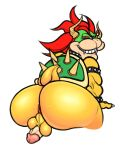 anal balls big_balls big_butt big_penis bowser butt eccentricspider lizard looking_at_viewer male mario_bros nintendo penis red_eyes reptile scalie simple_background solo video_games white_background