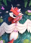 2018 arthropod butt butterfly cutie_mark digital_media_(artwork) equine eyelashes feathered_wings feathers female feral flower flower_in_hair friendship_is_magic hair hi_res horn insect lily_pad looking_at_viewer looking_back mammal my_little_pony partially_submerged plant princess_celestia_(mlp) purple_eyes red_hair solo spread_wings water white_feathers winged_unicorn wings yakovlev-vad
