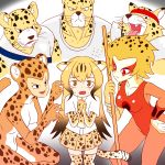 3boys 3girls absurdres apollo_(cheetahmen) aries_(cheetahmen) bangs bare_arms bare_shoulders black_eyes breasts brown_hair cheetah_(dc) cheetah_(kemono_friends) cheetah_boy cheetah_ears cheetah_girl cheetah_print cheetah_tail cheetahmen cheetara claw_pose claws cleavage closed_mouth collarbone collared_shirt commentary crossover dc_comics dress_shirt elbow_gloves english_commentary erect_nipples fangs flying_sweatdrops frown furrowed_eyebrows furry gloves gradient_hair hand_on_hip headband hercules_(cheetahmen) highres kemono_friends large_breasts leotard long_hair looking_at_viewer miniskirt multicolored_hair multiple_boys multiple_girls muscle necktie open_mouth orange_hair orange_leotard own_hands_together pleated_skirt polearm print_gloves print_legwear print_neckwear print_skirt red_eyes roger_i.s. scared shirt short_hair short_sleeves skirt spotted_hair streaked_hair sweat thighhighs thundercats trait_connection two-tone_hair very_long_hair wavy_mouth weapon whiskers white_shirt wing_collar zettai_ryouiki