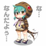 1girl afterimage aqua_hair bangs blush crossed_bangs eyebrows_visible_through_hair full_body hair_between_eyes hands_in_pockets hinotama_(hinotama422) hood hood_up hoodie kemono_friends long_sleeves looking_at_viewer no_nose open_mouth pink_ribbon ribbon simple_background snake_tail solo standing striped_tail tail tail_wagging translation_request tsuchinoko_(kemono_friends) white_background yellow_eyes