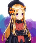 1girl abigail_williams_(fate/grand_order) bangs black_bow black_dress black_hat blonde_hair blush bow closed_mouth commentary_request dress eyebrows_visible_through_hair fate/grand_order fate_(series) forehead hair_bow hat highres long_hair long_sleeves looking_at_viewer object_hug orange_bow parted_bangs polka_dot polka_dot_bow purple_eyes sleeves_past_fingers sleeves_past_wrists smile solo stuffed_animal stuffed_toy teddy_bear very_long_hair yuuki_(snow-rain00)