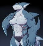 abs anthro biceps black_background claws clothing dorsal_fin elbow_fin fin fish gills half_portrait hand_on_chest head_fin male marine muscular muscular_male navel pecs shark shark_tail simple_background solo speedo standing swimsuit touching_chest velk yellow_eyes