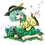 1girl aqua_hair arm_up barefoot blue_flower blue_rose breasts commentary_request eyebrows_visible_through_hair flower frilled_shirt_collar frilled_skirt frilled_sleeves frills grass green_eyes green_skirt hat hat_ribbon head_tilt highres ikazuchi_akira komeiji_koishi long_sleeves looking_at_viewer on_grass on_ground petals ribbon rose rose_petals shirt short_hair simple_background sitting skirt skirt_hold small_breasts smile solo touhou untucked_shirt wariza white_background wide_sleeves yellow_shirt