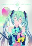 1girl ahoge arms_behind_back balloon blue_bow blue_ribbon bow detached_sleeves floating_hair green_hair hair_between_eyes hair_ornament hair_ribbon hatsune_miku head_tilt long_hair looking_at_viewer magical_mirai_(vocaloid) pink_bow ribbon sleeveless smile solo twintails upper_body very_long_hair vocaloid yamakawa yellow_bow