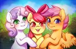 2018 apple_bloom_(mlp) blush cloud cute cutie_mark_crusaders_(mlp) earth_pony equine eyelashes feathered_wings feathers female feral friendship_is_magic green_eyes grin group hair hair_bow hair_ribbon happy hooves horn horse looking_at_viewer mammal multicolored_hair my_little_pony nude open_mouth open_smile orange_feathers outside pegasus pink_hair plant pony portrait purple_eyes purple_hair red_eyes red_hair ribbons scootaloo_(mlp) short_hair shrub signature sky smile starsheepsweaters sweetie_belle_(mlp) teeth tongue two_tone_hair unicorn wings young
