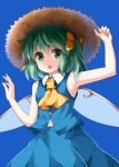 1girl :o arm_up armpits ascot bare_arms bare_shoulders blue_background blue_skirt blue_vest bow breasts brown_hat commentary_request cowboy_shot daiyousei eyebrows_visible_through_hair fairy_wings green_eyes green_hair hair_between_eyes hair_bow hand_up hat highres looking_at_viewer midriff_peek one_side_up open_mouth ruu_(tksymkw) short_hair simple_background skirt sleeveless small_breasts solo touhou vest wing_collar wings yellow_bow yellow_neckwear