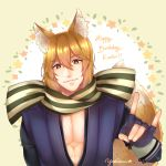 !! 1boy absurdres animal_ears brown_eyes character_name fingerless_gloves fire_emblem fire_emblem_if flower fox_ears fox_tail gloves happy_birthday highres japanese_clothes leaf male_focus nishiki_(fire_emblem_if) orange_hair scarf simple_background solo tail yellow_background yukiiruuu