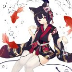1girl :d animal_ears azur_lane black_hair black_kimono bob_cut breasts cat_ears cat_mask commentary_request fang fish fucodoku japanese_clothes kimono large_breasts looking_at_viewer mask mask_on_head open_mouth red_eyes short_hair sideboob simple_background sitting smile solo thighhighs twitter_username white_background white_legwear wide_sleeves yamashiro_(azur_lane)
