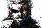 1boy beard big_boss eyepatch facial_hair high_collar imizu_(nitro_unknown) looking_at_viewer male_focus manly metal_gear_(series) metal_gear_solid metal_gear_solid_3 portrait red_eyes solo spot_color