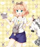 1girl blonde_hair bunny casual checkered checkered_background clothes_hanger collarbone commentary_request cup fork gochuumon_wa_usagi_desu_ka? green_eyes highres holding kirima_sharo necktie open_mouth plaid plaid_neckwear plaid_skirt plate purple_shorts ruu_(tksymkw) school_uniform short_hair shorts skirt solo tedeza_rize's_school_uniform wavy_mouth wild_geese