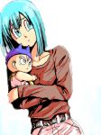 1boy 1girl :o baby belt blue_eyes blue_hair bulma carrying cowboy_shot denim dragon_ball dragonball_z dutch_angle eyebrows_visible_through_hair eyelashes frown hat jeans long_sleeves looking_away maca_(kanekohouse) mother_and_son open_mouth pants red_shirt shirt short_hair simple_background trunks_(dragon_ball) upper_body white_background