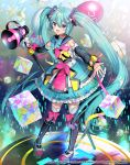1girl :d ahoge aqua_eyes aqua_hair artist_name balloon bow bow_legwear bowtie cube detached_sleeves dress full_body hair_between_eyes hatsune_miku itamidome long_hair magical_mirai_(vocaloid) megaphone microphone_stand open_mouth outstretched_arms pigeon-toed sailor_collar smile solo spread_arms standing thighhighs twintails very_long_hair vocaloid