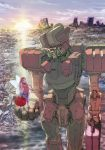 1girl box briefcase city fairy heart-shaped_box in_palm looking_at_another mecha mittens non_(6nezuuyamar9) open_mouth original robot ruins spacesuit suitcase walking